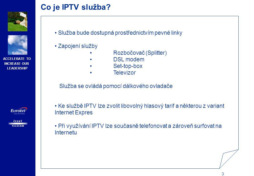 ACCELERATE TO INCREASE OUR LEADERSHIP 14 Produktový popis IPTV služby – další TV balíčky Doobjednání dalších balíčků TV programů k základní nabídce Lze doobjednat pouze k O2 TV Základní nabídce, nebo O2 TV filmové nabídce Základ plus Doplňková nabídka zahrnuje programy TV Markíza, STV 1, CT24, CNN, BBC World, Jetix, Minimax, A +, Spektrum, National Geographic, Discovery, AXN, Zone Romantica, Zone Reality, ČT 4 Sport, Galaxie, Sport, Eurosport, Eurosport 2, Óčko, MTV Europe Filmová nabídka plus Služba zahrnuje programy HBO1, HBO2, Cinemax 1, Cinemax 2 Erotické programy plus Služba zahrnuje programy Hustler TV, XXX Xtreme Doobjednání dalších TV programů k základní nabídce Lze doobjednat pouze k O2 TV základní nabídka, nebo O2 TV filmová nabídka HBO + HBO2 Služba zahrnuje programy HBO a HBO2 Cinemax + Cinemax2 Služba zahrnuje programy Cinemax 1 a Cinemax 2 Hustler TV Služba zahrnuje program Hustler TV Kanály Hustler TV a XXX Xtreme (v doplňkové nabídce O2 TV Privat plus i samostatný kanál Hustler TV) vysílají pouze od 23:00 do 05:00, a to každý den v týdnu.