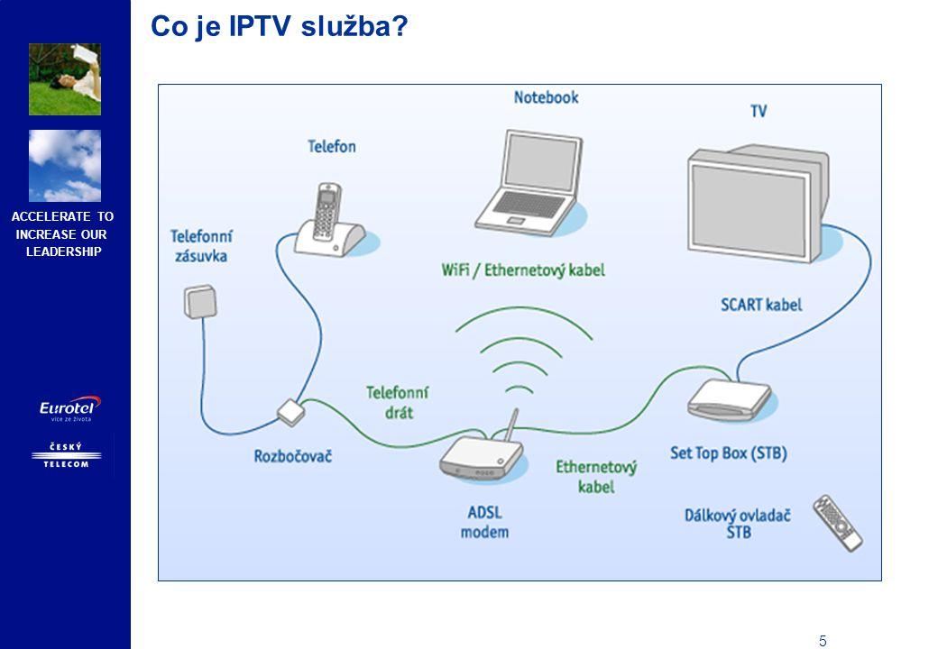 ACCELERATE TO INCREASE OUR LEADERSHIP 16 Produktový popis IPTV služby – doplňkové služby Videotéka S touto virtuální videopůjčovnou získá zákazník přímo z domova přístup k obrovskému množství filmů, dokumentů, seriálů, pohádek nebo filmů pro dospělé.