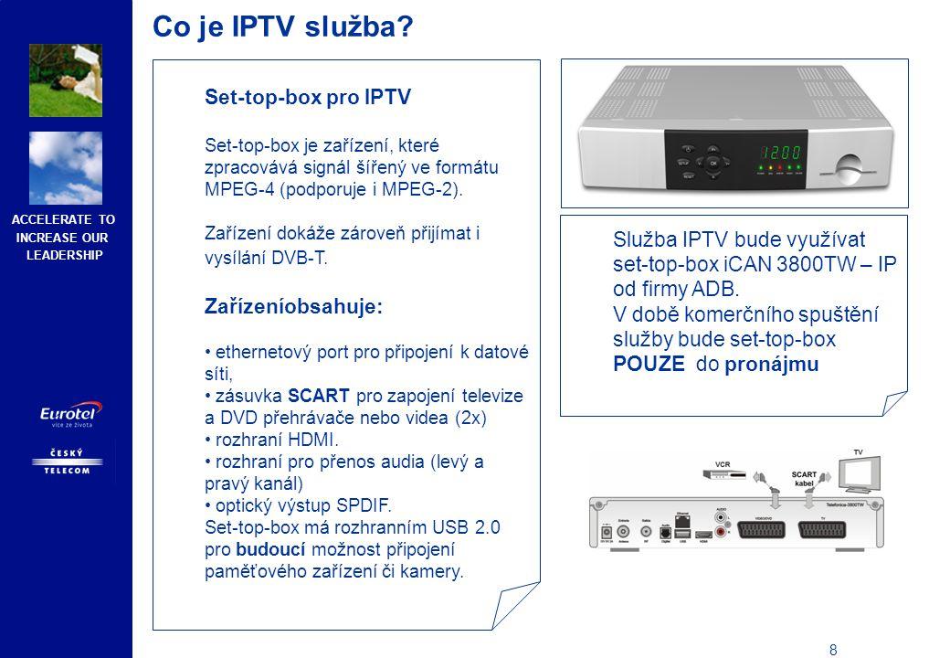 ACCELERATE TO INCREASE OUR LEADERSHIP 9 Co je IPTV služba.