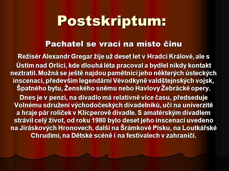 Postskriptum: Pachatel se vrací na místo činu Režisér Alexandr Gregar žije už deset let v Hradci Králové, ale s Ústím nad Orlicí, kde dlouhá léta pracoval a bydlel nikdy kontakt neztratil.