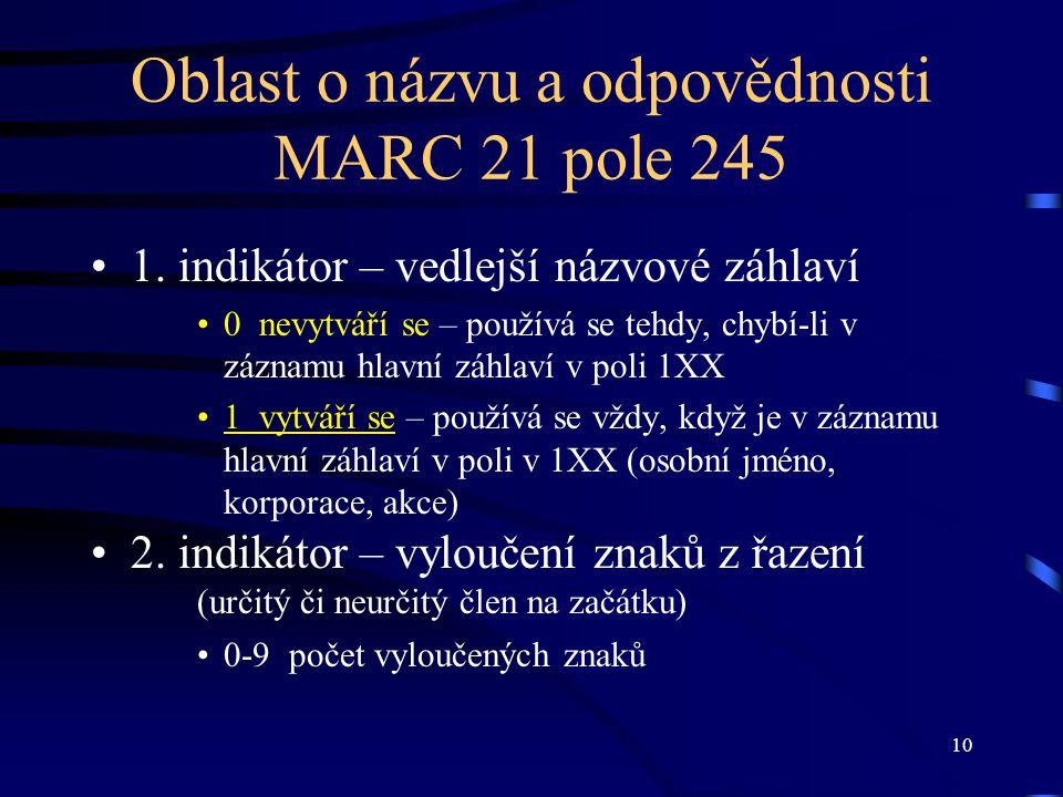 10 Oblast o názvu a odpovědnosti MARC 21 pole 245 1. indikátor – vedlejší názvové záhlaví 0 nevytváří se – používá se tehdy, chybí-li v záznamu hlavní