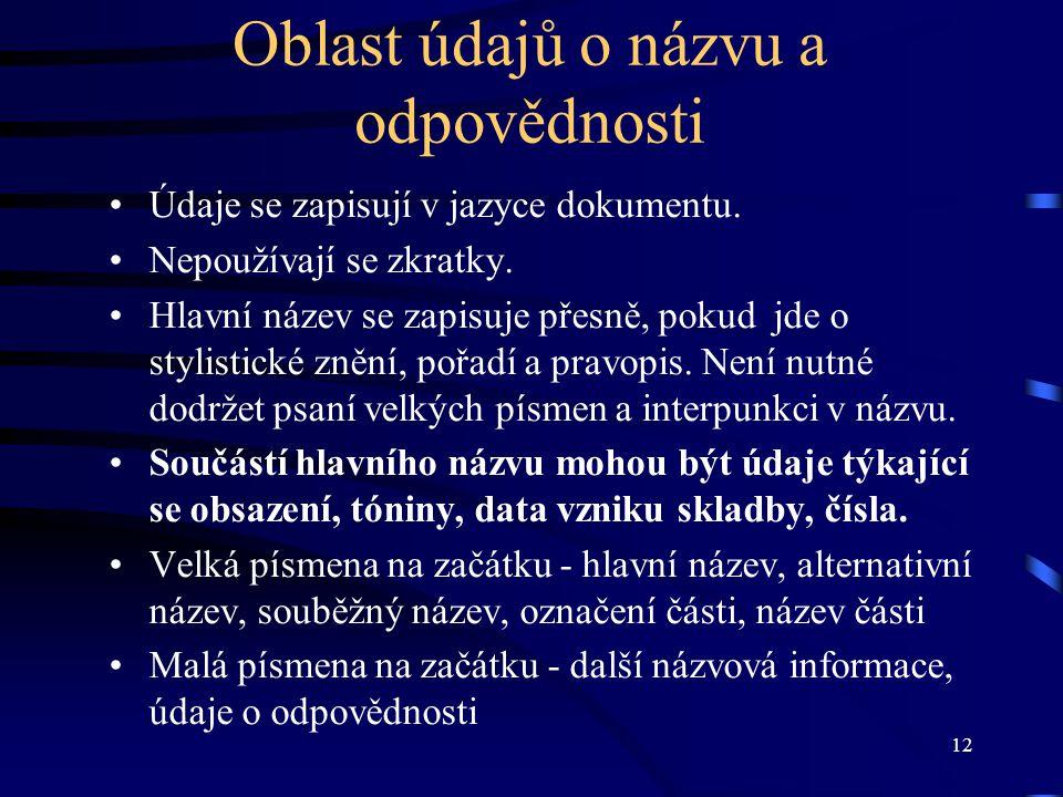 12 Oblast údajů o názvu a odpovědnosti Údaje se zapisují v jazyce dokumentu.