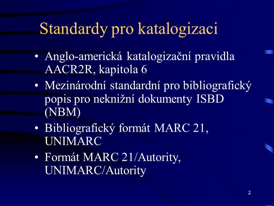 43 Oblast údajů poznámky Doporučené pořadí poznámek pro zobrazení podle ISBD –poznámka k interpretům na novém řádku na začátku v oblasti poznámek v oblasti popisu –vydavatelské číslo se uvádí na samostatný řádek pod blokem poznámek V UNIMARCu blok polí 3XX V MARCu 21 blok polí 5XX  Příklady Příklady