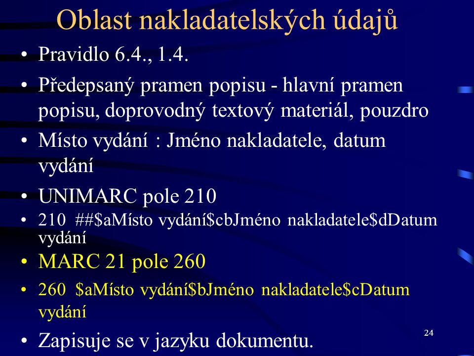 24 Oblast nakladatelských údajů Pravidlo 6.4., 1.4. Předepsaný pramen popisu - hlavní pramen popisu, doprovodný textový materiál, pouzdro Místo vydání