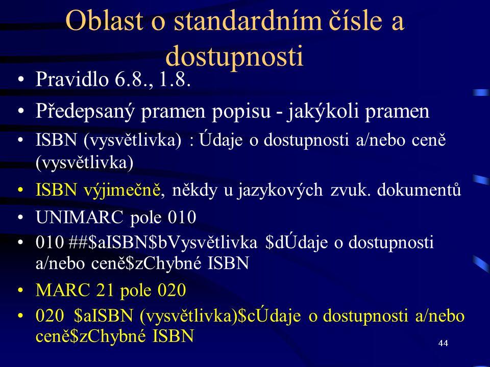 44 Oblast o standardním čísle a dostupnosti Pravidlo 6.8., 1.8. Předepsaný pramen popisu - jakýkoli pramen ISBN (vysvětlivka) : Údaje o dostupnosti a/