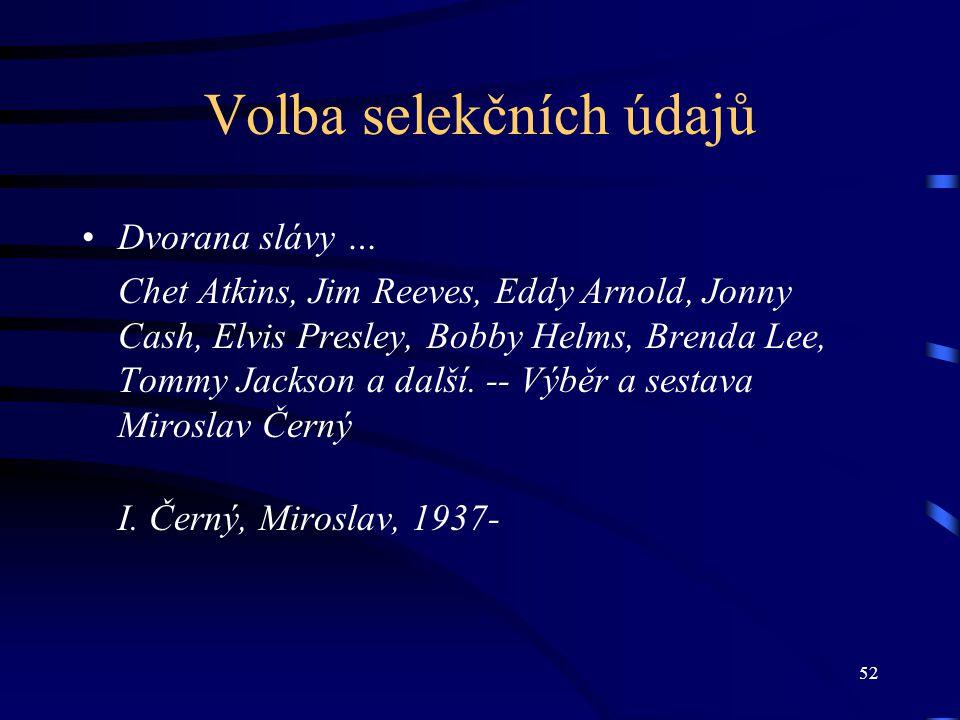 52 Volba selekčních údajů Dvorana slávy … Chet Atkins, Jim Reeves, Eddy Arnold, Jonny Cash, Elvis Presley, Bobby Helms, Brenda Lee, Tommy Jackson a další.