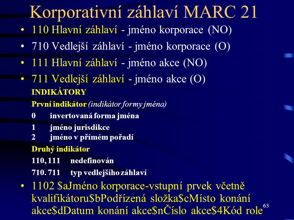 63 Korporativní záhlaví MARC 21 110 Hlavní záhlaví - jméno korporace (NO) 710 Vedlejší záhlaví - jméno korporace (O) 111 Hlavní záhlaví - jméno akce (