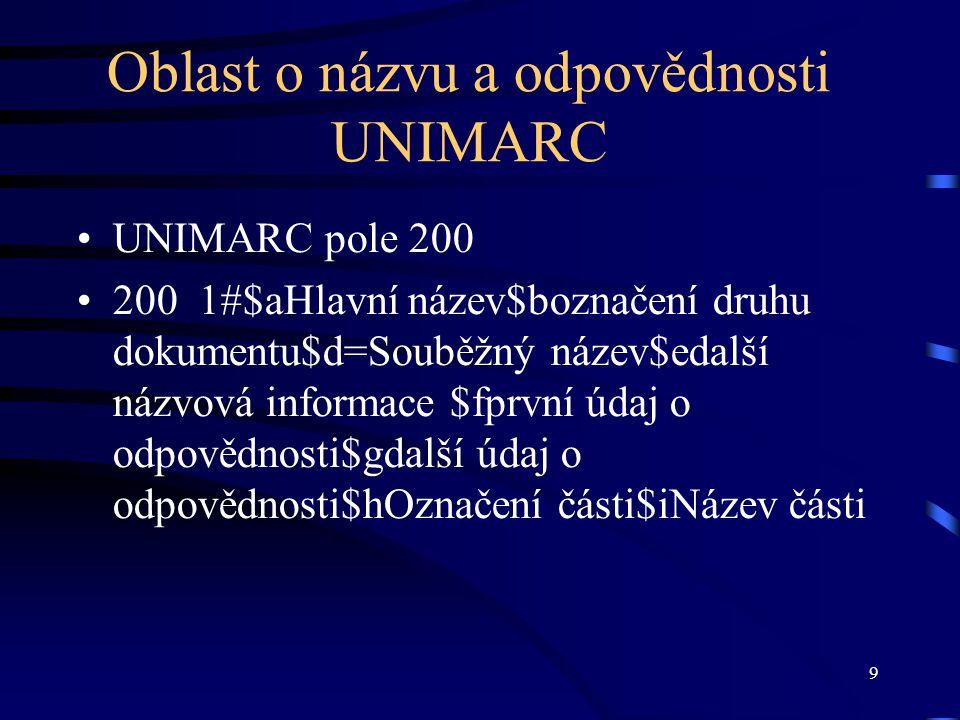 9 Oblast o názvu a odpovědnosti UNIMARC UNIMARC pole 200 200 1#$aHlavní název$boznačení druhu dokumentu$d=Souběžný název$edalší názvová informace $fpr