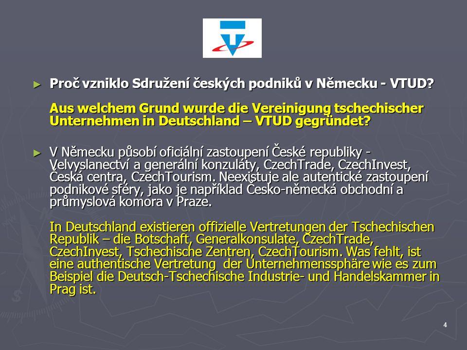 4 ► Proč vzniklo Sdružení českých podniků v Německu - VTUD? Aus welchem Grund wurde die Vereinigung tschechischer Unternehmen in Deutschland – VTUD ge