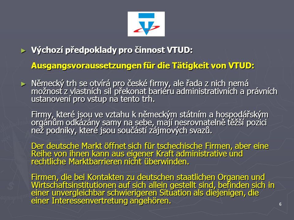 6 ► Výchozí předpoklady pro činnost VTUD: Ausgangsvoraussetzungen für die Tätigkeit von VTUD: ► Německý trh se otvírá pro české firmy, ale řada z nich