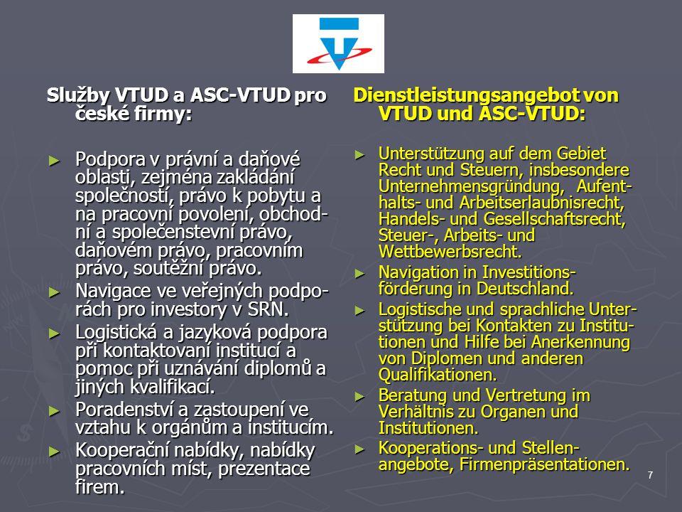 7 Služby VTUD a ASC-VTUD pro české firmy: ► Podpora v právní a daňové oblasti, zejména zakládání společností, právo k pobytu a na pracovní povolení, obchod- ní a společenstevní právo, daňovém právo, pracovním právo, soutěžní právo.