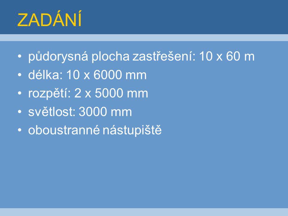 ZADÁNÍ půdorysná plocha zastřešení: 10 x 60 m délka: 10 x 6000 mm rozpětí: 2 x 5000 mm světlost: 3000 mm oboustranné nástupiště