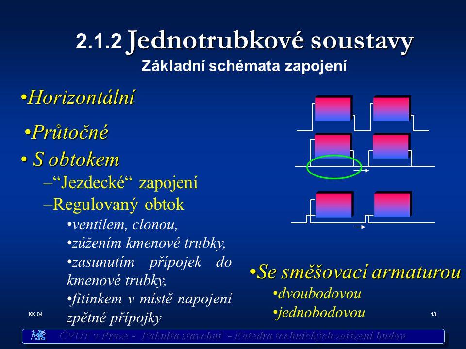 13KK 04 Jednotrubkové soustavy 2.1.2 Jednotrubkové soustavy Základní schémata zapojení SeSe směšovací armaturou dvoubodovou jednobodovou HorizontálníHorizontální S obtokem S obtokem – Jezdecké zapojení –Regulovaný obtok ventilem, clonou, zúžením kmenové trubky, zasunutím přípojek do kmenové trubky, fitinkem v místě napojení zpětné přípojky PrůtočnéPrůtočné