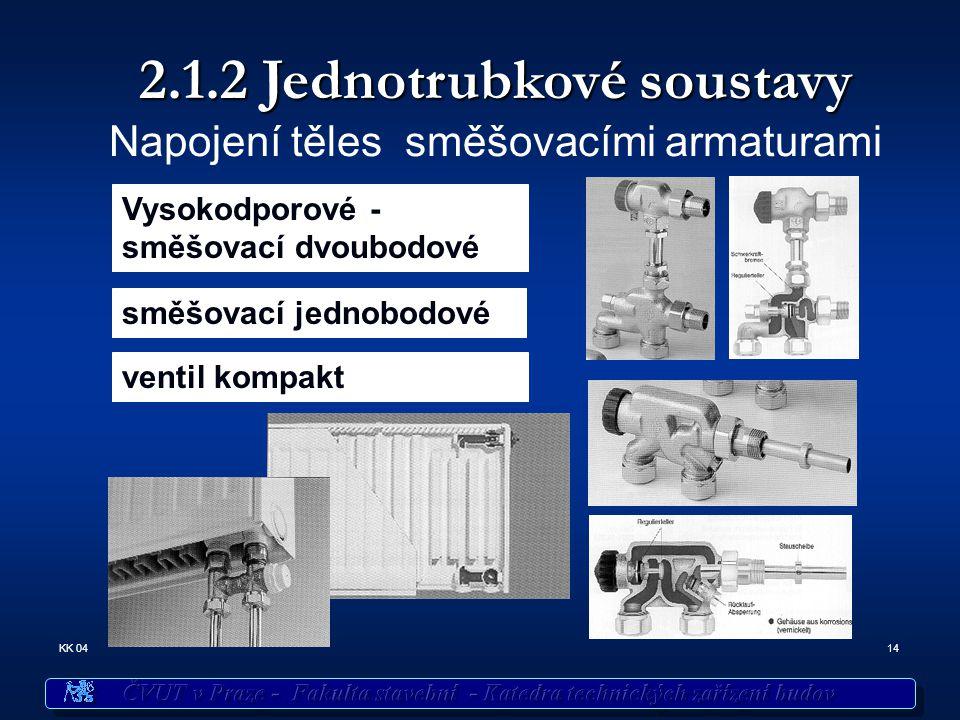 14KK 04 2.1.2 Jednotrubkové soustavy Napojení těles směšovacími armaturami Vysokodporové - směšovací dvoubodové směšovací jednobodové ventil kompakt