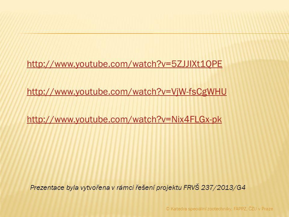 http://www.youtube.com/watch v=5ZJJIXt1QPE http://www.youtube.com/watch v=VjW-fsCgWHU http://www.youtube.com/watch v=Nix4FLGx-pk Prezentace byla vytvořena v rámci řešení projektu FRVŠ 237/2013/G4 © Katedra speciální zootechniky, FAPPZ, ČZU v Praze