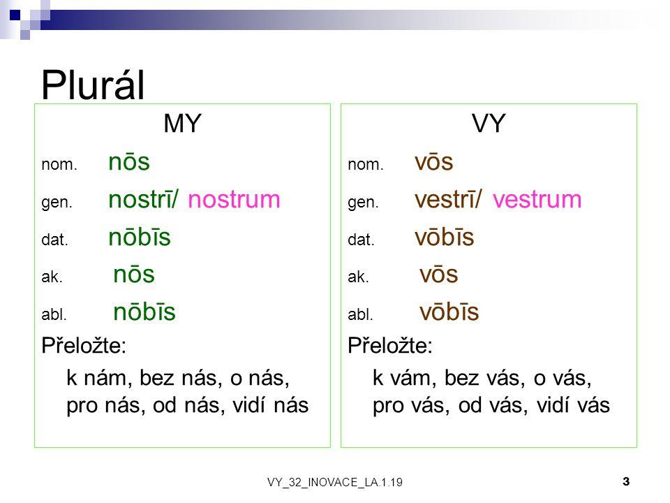 VY_32_INOVACE_LA.1.19 3 Plurál MY nom. nōs gen. nostrī/ nostrum dat.