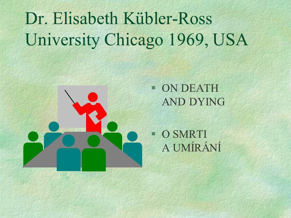 Dr. Elisabeth Kübler-Ross University Chicago 1969, USA §ON DEATH AND DYING §O SMRTI A UMÍRÁNÍ