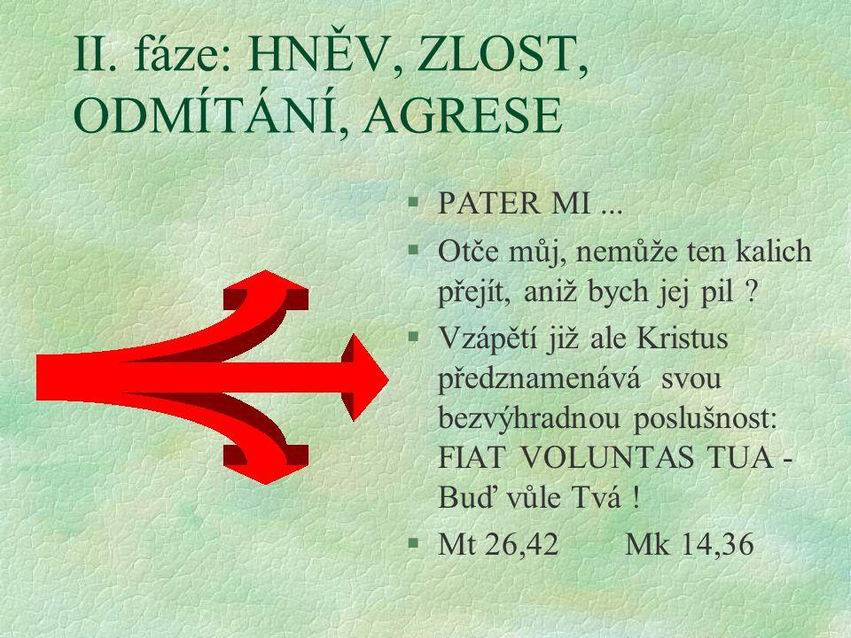 II. fáze: HNĚV, ZLOST, ODMÍTÁNÍ, AGRESE §PATER MI... §Otče můj, nemůže ten kalich přejít, aniž bych jej pil ? §Vzápětí již ale Kristus předznamenává s