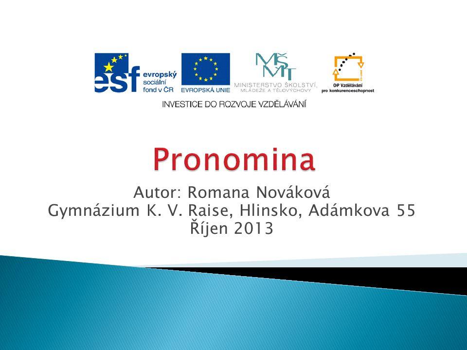 Autor: Romana Nováková Gymnázium K. V. Raise, Hlinsko, Adámkova 55 Říjen 2013