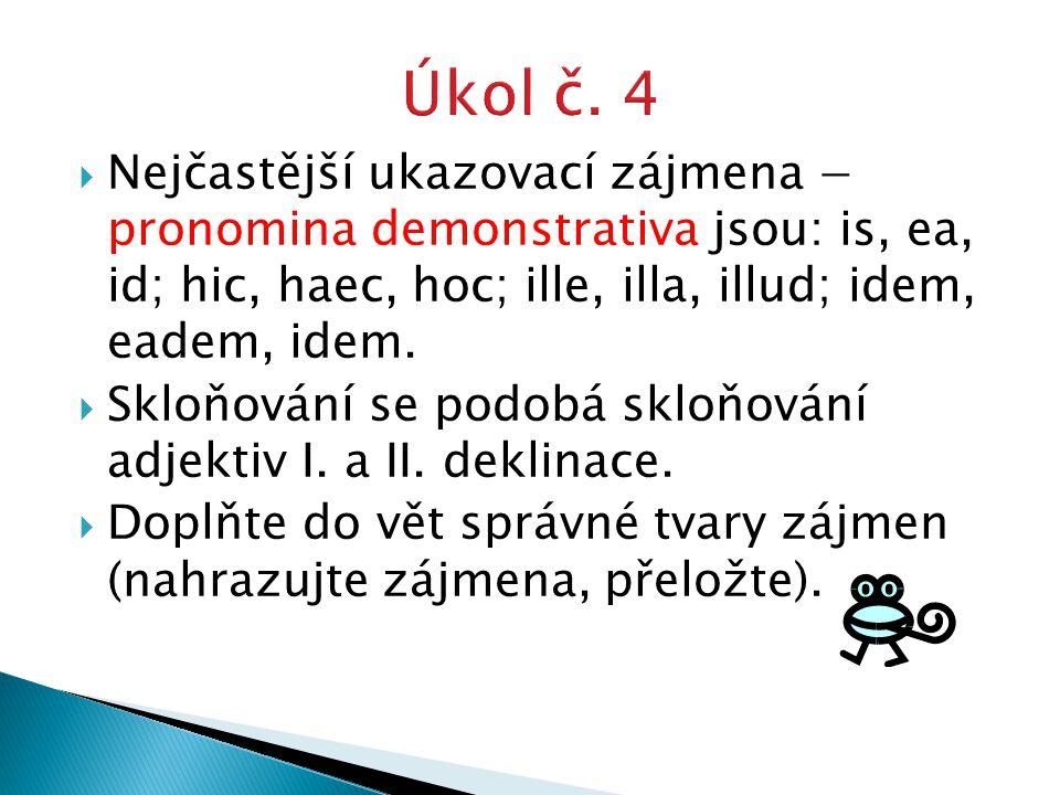  Nejčastější ukazovací zájmena − pronomina demonstrativa jsou: is, ea, id; hic, haec, hoc; ille, illa, illud; idem, eadem, idem.