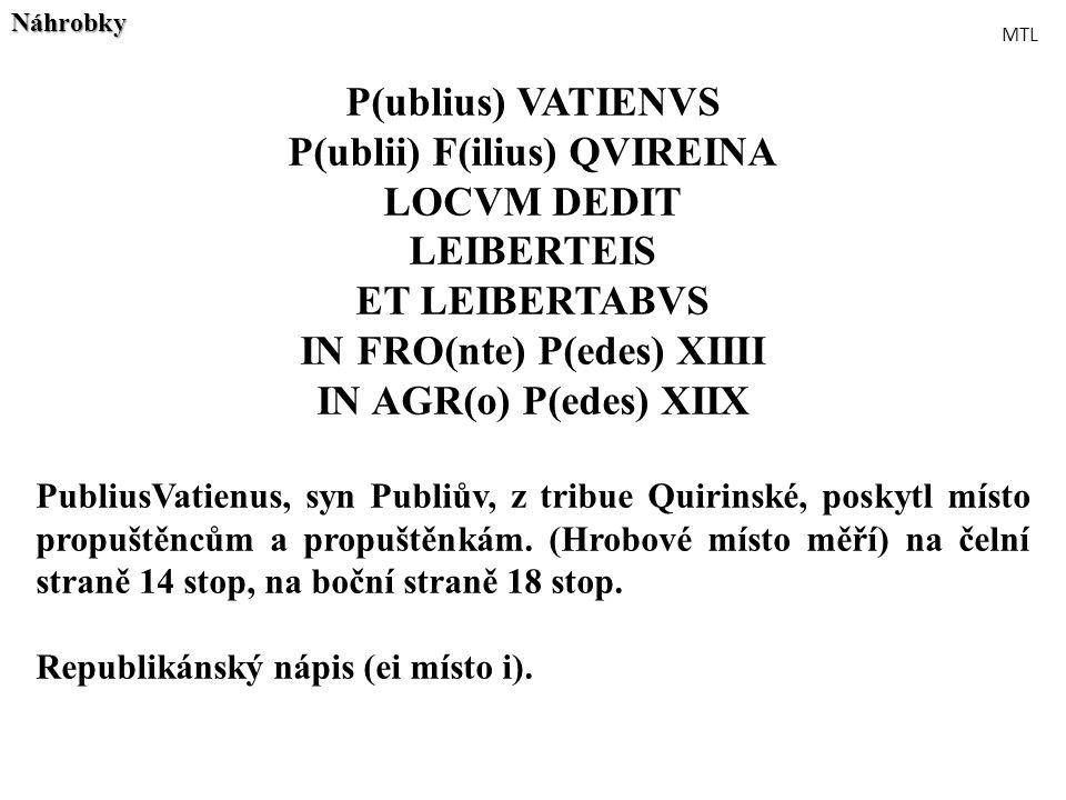 P(ublius) VATIENVS P(ublii) F(ilius) QVIREINA LOCVM DEDIT LEIBERTEIS ET LEIBERTABVS IN FRO(nte) P(edes) XIIII IN AGR(o) P(edes) XIIX PubliusVatienus,