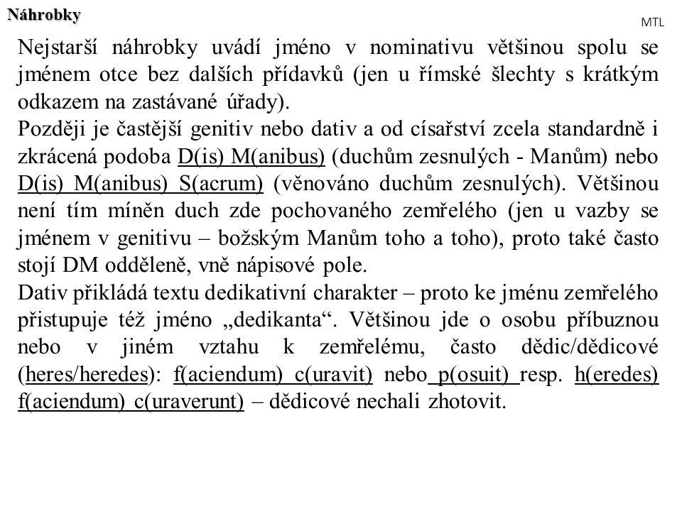 Nejstarší náhrobky uvádí jméno v nominativu většinou spolu se jménem otce bez dalších přídavků (jen u římské šlechty s krátkým odkazem na zastávané úř