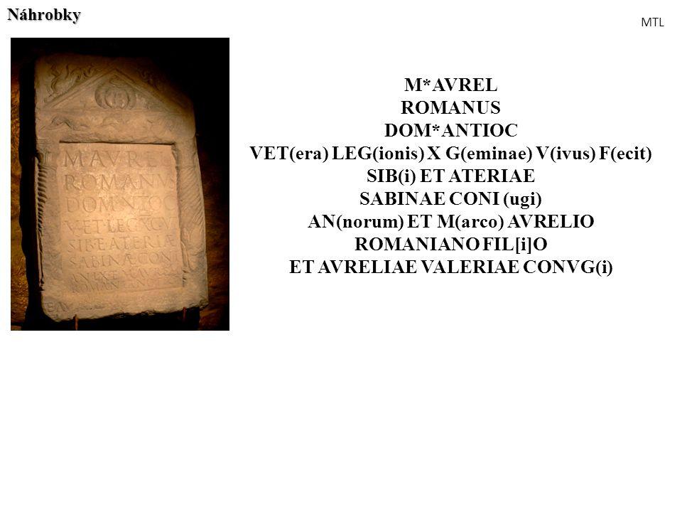 M*AVREL ROMANUS DOM*ANTIOC VET(era) LEG(ionis) X G(eminae) V(ivus) F(ecit) SIB(i) ET ATERIAE SABINAE CONI (ugi) AN(norum) ET M(arco) AVRELIO ROMANIANO
