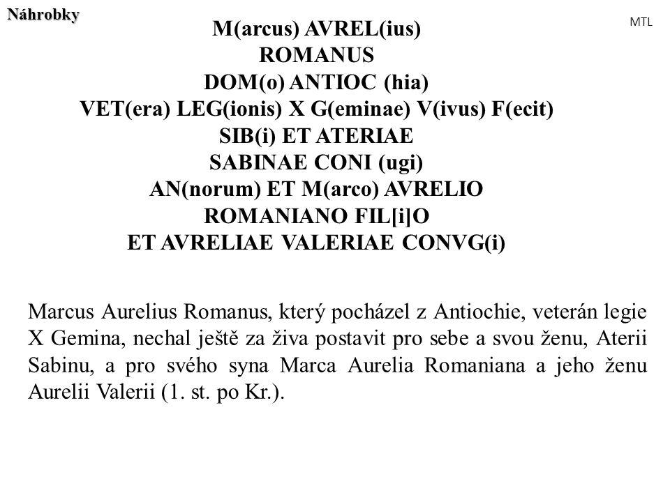 M(arcus) AVREL(ius) ROMANUS DOM(o) ANTIOC (hia) VET(era) LEG(ionis) X G(eminae) V(ivus) F(ecit) SIB(i) ET ATERIAE SABINAE CONI (ugi) AN(norum) ET M(ar