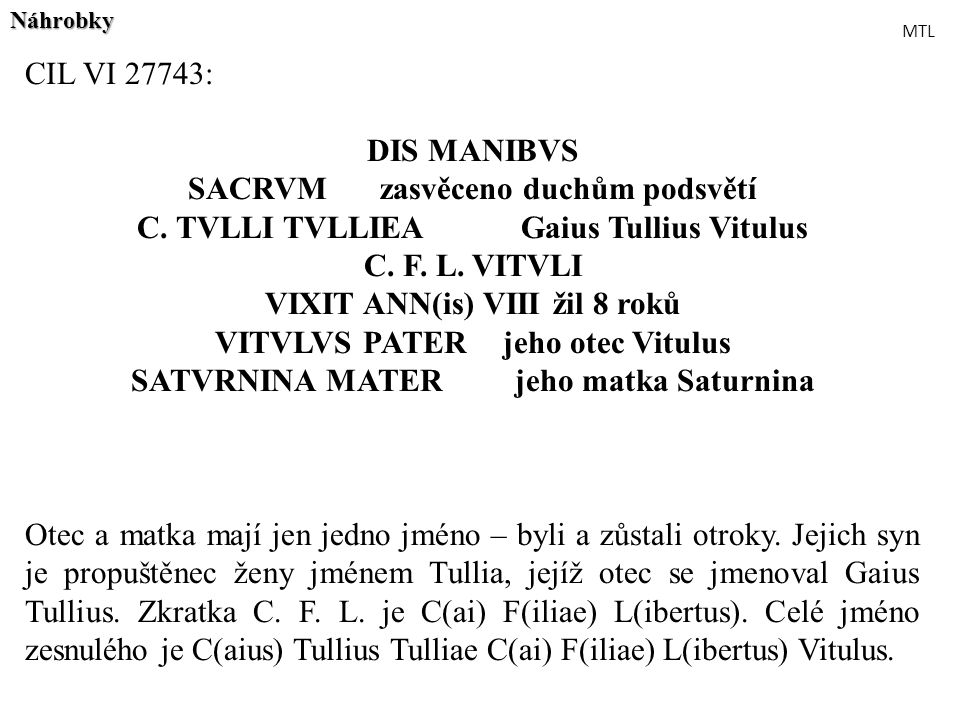 CIL VI 27743: DIS MANIBVS SACRVM zasvěceno duchům podsvětí C. TVLLI TVLLIEAGaius Tullius Vitulus C. F. L. VITVLI VIXIT ANN(is) VIIIžil 8 roků VITVLVS