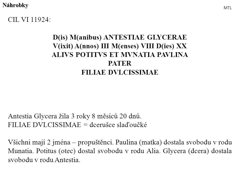 CIL VI 11924: D(is) M(anibus) ANTESTIAE GLYCERAE V(ixit) A(nnos) III M(enses) VIII D(ies) XX ALIVS POTITVS ET MVNATIA PAVLINA PATER FILIAE DVLCISSIMAE