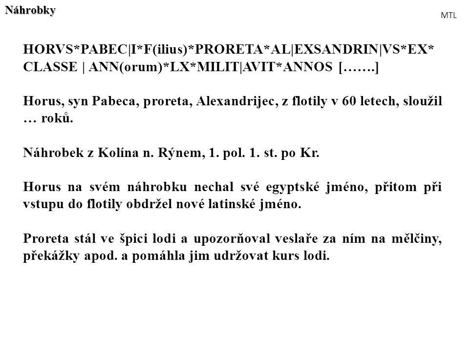 HORVS*PABEC|I*F(ilius)*PRORETA*AL|EXSANDRIN|VS*EX* CLASSE | ANN(orum)*LX*MILIT|AVIT*ANNOS […….] Horus, syn Pabeca, proreta, Alexandrijec, z flotily v