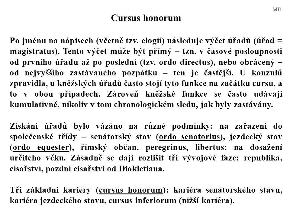 Cursus honorum Po jménu na nápisech (včetně tzv. elogií) následuje výčet úřadů (úřad = magistratus). Tento výčet může být přímý – tzn. v časové poslou