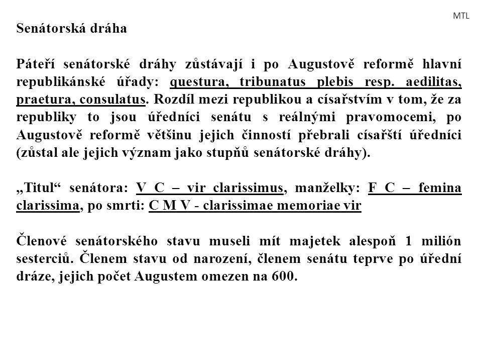 Senátorská dráha Páteří senátorské dráhy zůstávají i po Augustově reformě hlavní republikánské úřady: questura, tribunatus plebis resp. aedilitas, pra