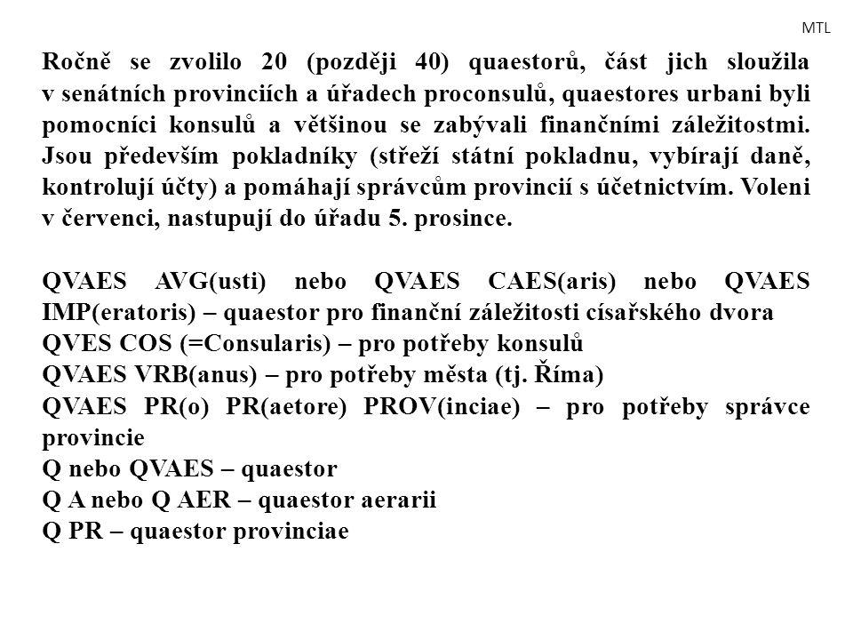 Ročně se zvolilo 20 (později 40) quaestorů, část jich sloužila v senátních provinciích a úřadech proconsulů, quaestores urbani byli pomocníci konsulů