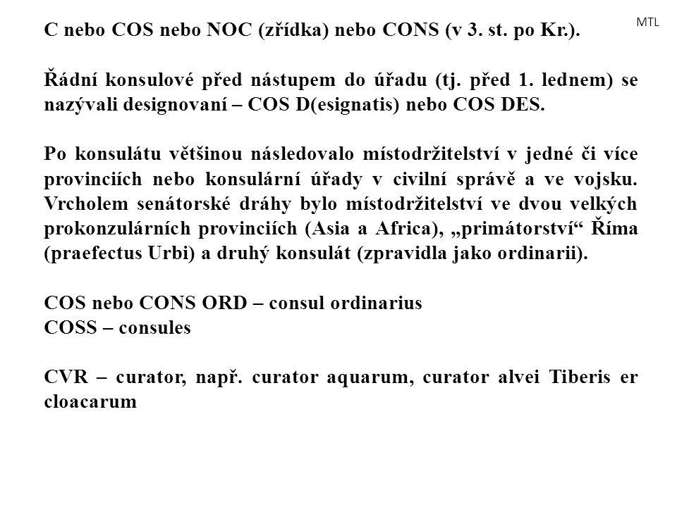 C nebo COS nebo NOC (zřídka) nebo CONS (v 3. st. po Kr.). Řádní konsulové před nástupem do úřadu (tj. před 1. lednem) se nazývali designovaní – COS D(