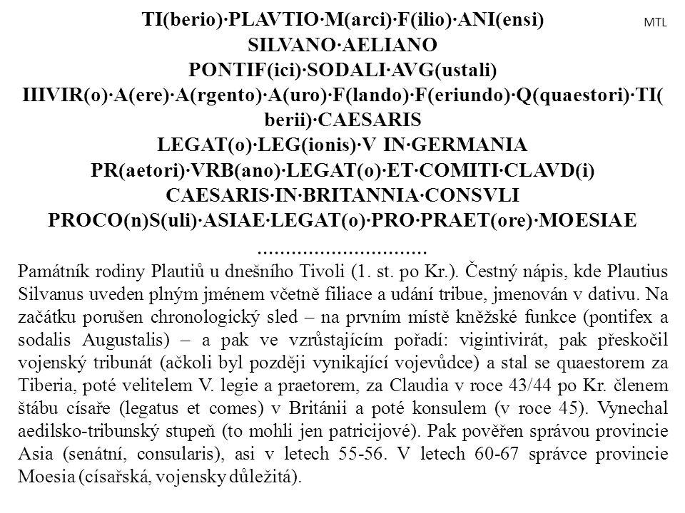 TI(berio)·PLAVTIO·M(arci)·F(ilio)·ANI(ensi) SILVANO·AELIANO PONTIF(ici)·SODALI·AVG(ustali) IIIVIR(o)·A(ere)·A(rgento)·A(uro)·F(lando)·F(eriundo)·Q(qua