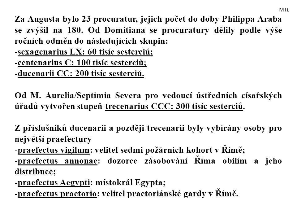 Za Augusta bylo 23 procuratur, jejich počet do doby Philippa Araba se zvýšil na 180. Od Domitiana se procuratury dělily podle výše ročních odměn do ná