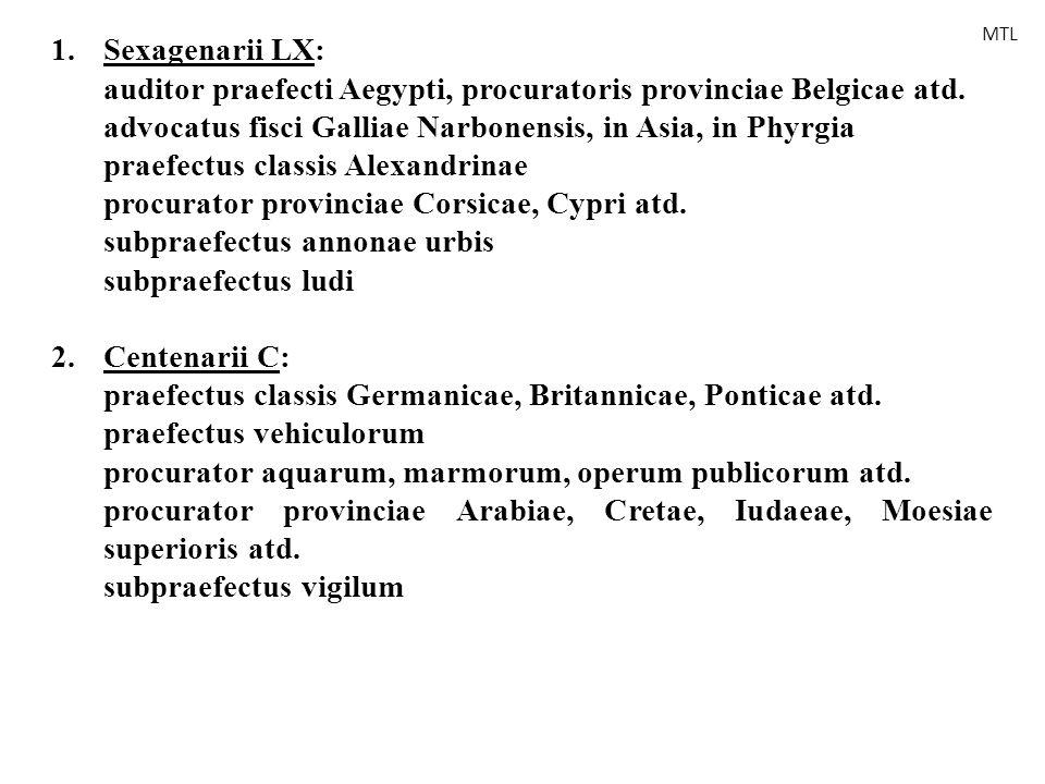 1.Sexagenarii LX: auditor praefecti Aegypti, procuratoris provinciae Belgicae atd. advocatus fisci Galliae Narbonensis, in Asia, in Phyrgia praefectus