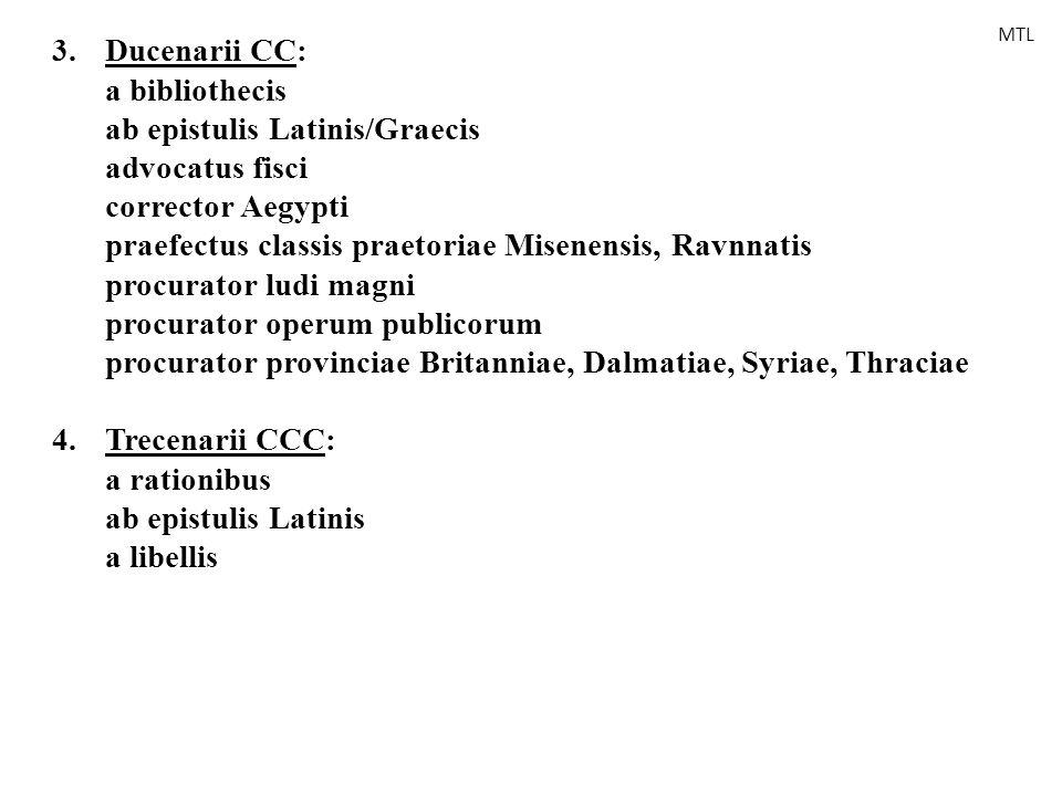 3. Ducenarii CC: a bibliothecis ab epistulis Latinis/Graecis advocatus fisci corrector Aegypti praefectus classis praetoriae Misenensis, Ravnnatis pro
