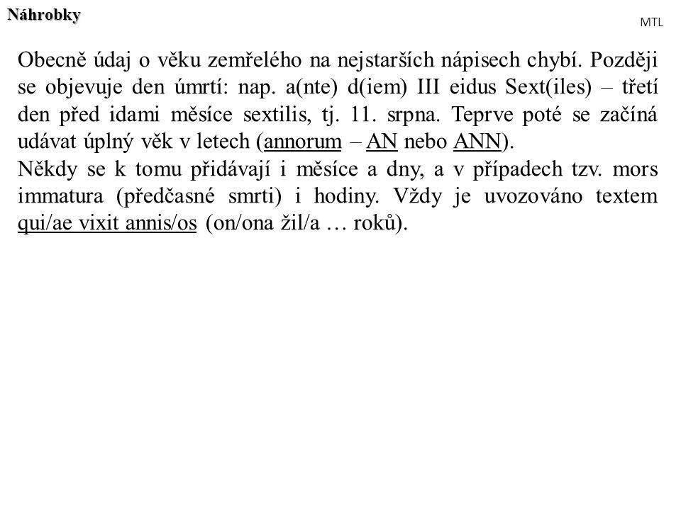 Obecně údaj o věku zemřelého na nejstarších nápisech chybí. Později se objevuje den úmrtí: nap. a(nte) d(iem) III eidus Sext(iles) – třetí den před id
