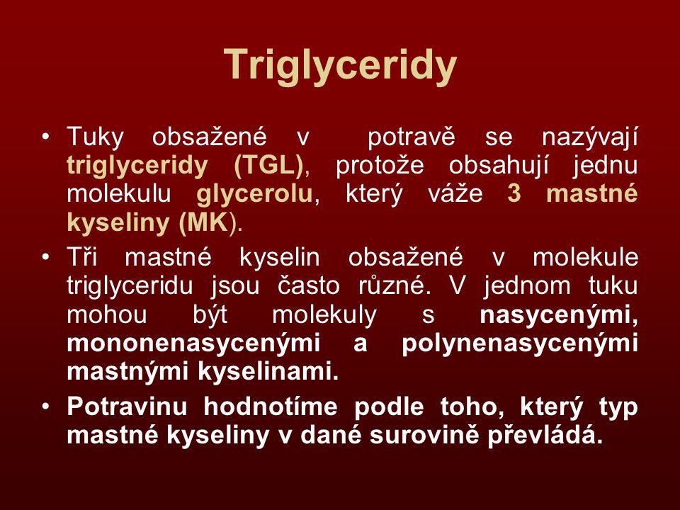 Triglyceridy Tuky obsažené v potravě se nazývají triglyceridy (TGL), protože obsahují jednu molekulu glycerolu, který váže 3 mastné kyseliny (MK). Tři