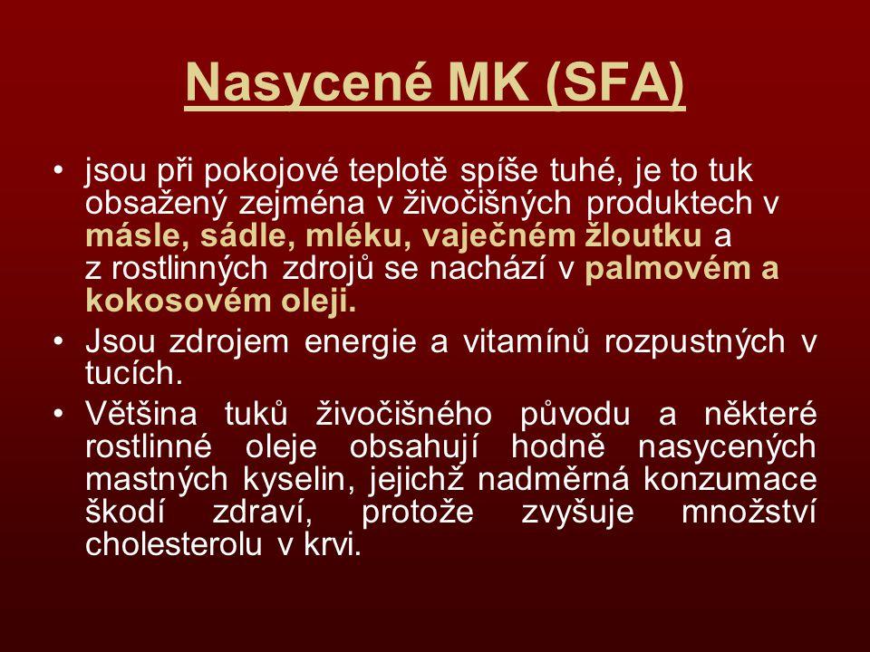 Nasycené MK (SFA) jsou při pokojové teplotě spíše tuhé, je to tuk obsažený zejména v živočišných produktech v másle, sádle, mléku, vaječném žloutku a