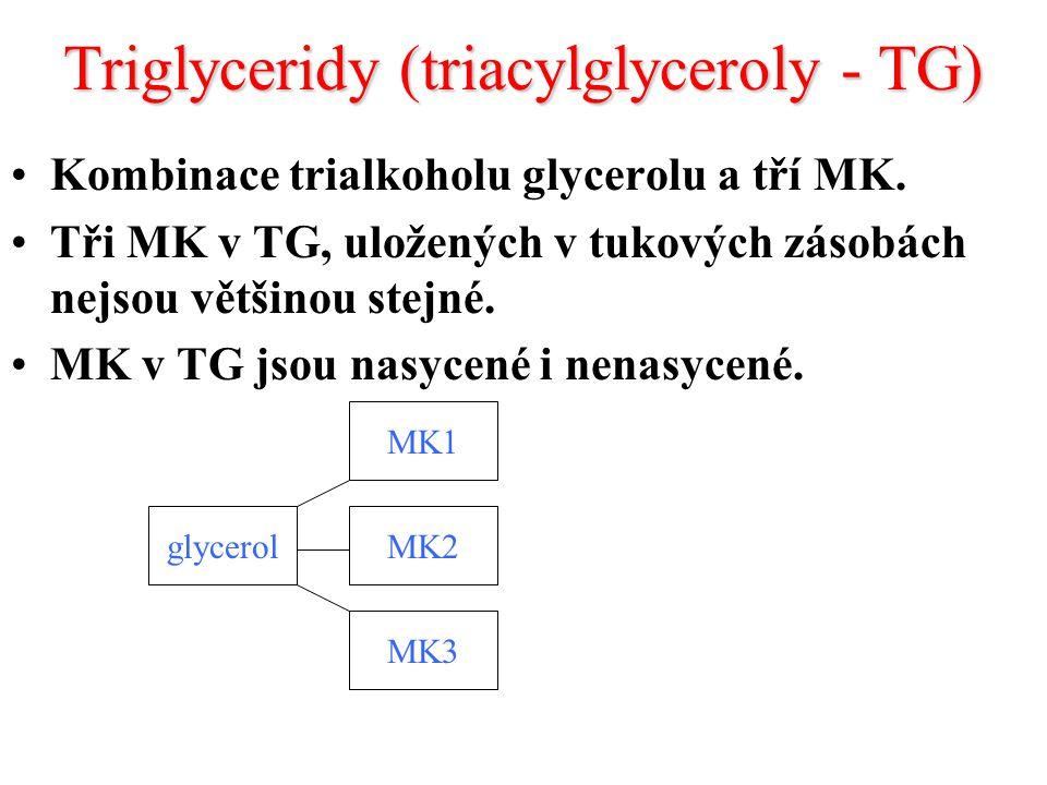 Triglyceridy (triacylglyceroly - TG) Kombinace trialkoholu glycerolu a tří MK.