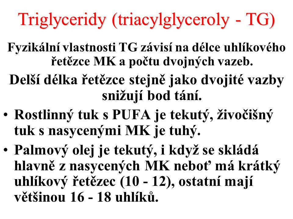 Triglyceridy (triacylglyceroly - TG) Fyzikální vlastnosti TG závisí na délce uhlíkového řetězce MK a počtu dvojných vazeb.