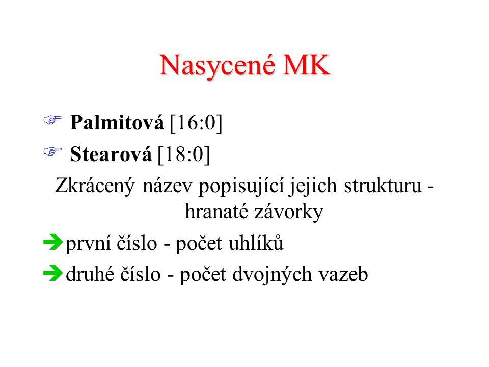 Nasycené MK  Palmitová [16:0]  Stearová [18:0] Zkrácený název popisující jejich strukturu - hranaté závorky  první číslo - počet uhlíků  druhé číslo - počet dvojných vazeb
