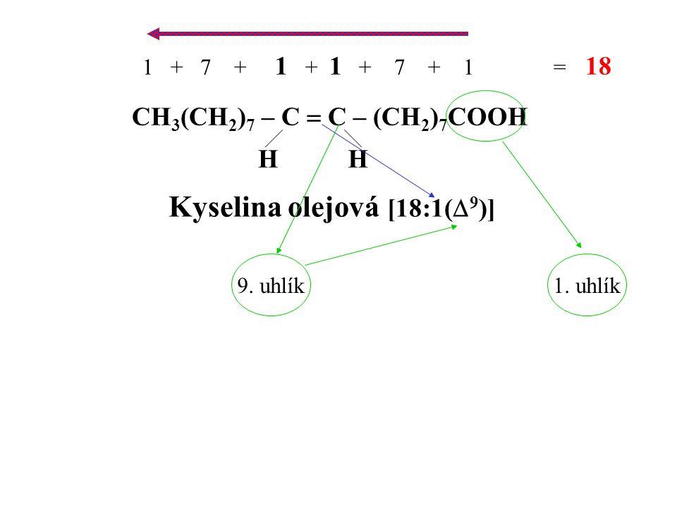 CH 3 (CH 2 ) 7 – C  C – (CH 2 ) 7 COOH HH Kyselina olejová [18:1(  9 )] 1 + 7 + 1 + 1 + 7 + 1 = 18 9.
