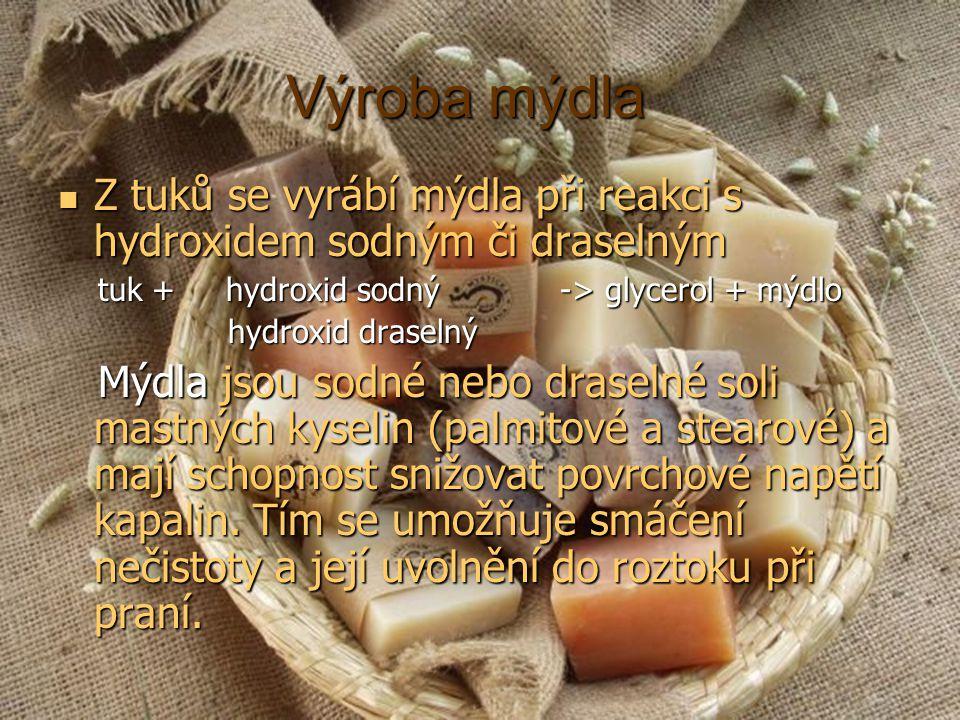 Výroba mýdla Z tuků se vyrábí mýdla při reakci s hydroxidem sodným či draselným Z tuků se vyrábí mýdla při reakci s hydroxidem sodným či draselným tuk