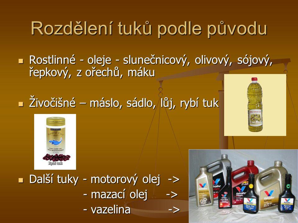 Rozdělení tuků podle původu Rostlinné - oleje - slunečnicový, olivový, sójový, řepkový, z ořechů, máku Rostlinné - oleje - slunečnicový, olivový, sójo