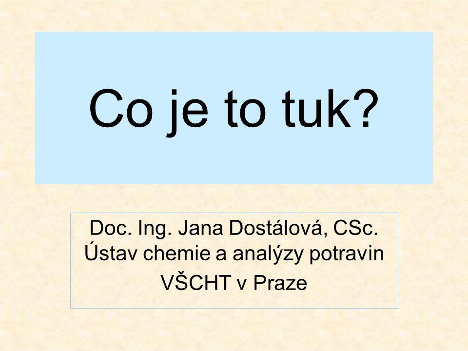 Co je to tuk? Doc. Ing. Jana Dostálová, CSc. Ústav chemie a analýzy potravin VŠCHT v Praze