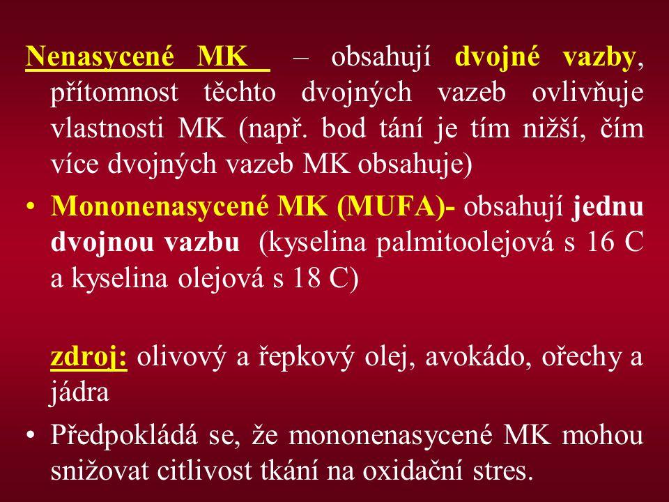 Nenasycené MK – obsahují dvojné vazby, přítomnost těchto dvojných vazeb ovlivňuje vlastnosti MK (např. bod tání je tím nižší, čím více dvojných vazeb